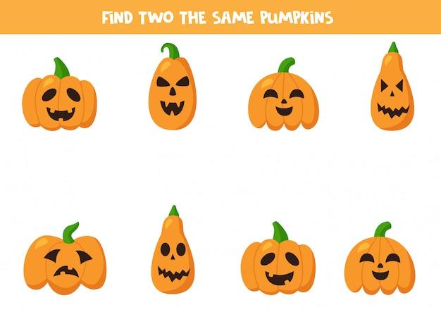 Найдите две одинаковые тыквы halloween jack o lantern.