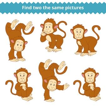 Найди две одинаковые картинки, развивающая игра для детей, обезьяна