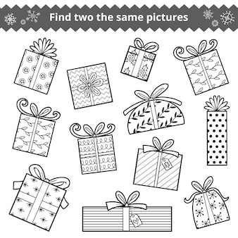 두 개의 동일한 사진, 어린이를 위한 교육 게임을 찾으십시오. 크리스마스 선물 세트