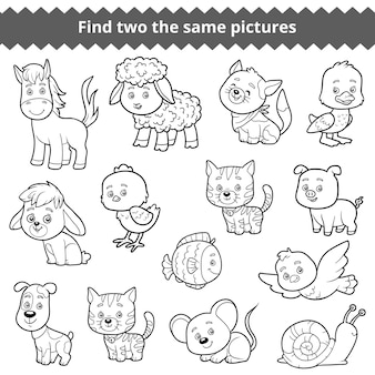 2つの同じ写真、子供向けの教育ゲーム、家畜のベクターセットを探す