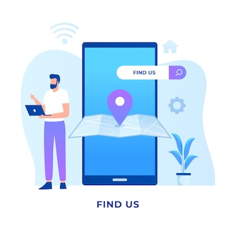 Find us location concept.