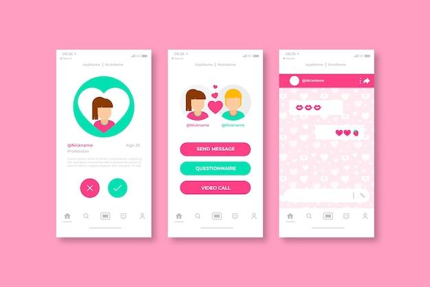 パートナーのオンライン出会い系アプリのインターフェースを見つける