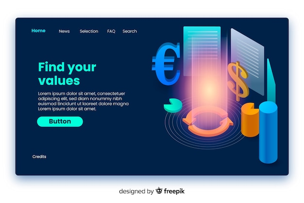 Find your values business isometric landing page