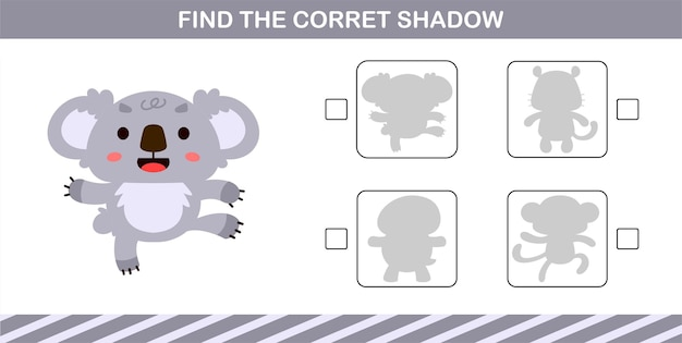 Finding the correct shadow of cute koala,education game for kids age 5 and 10 year old