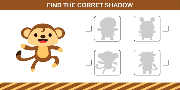 Finding the correct shadow of cute monkey,education game for kids age 5 and 10 year old