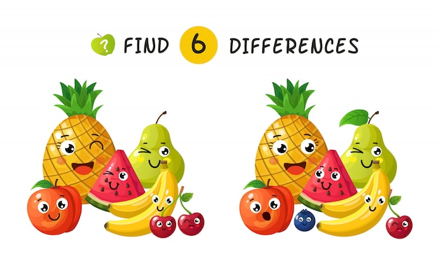 Finding differences. children game with happy cartoon fruits.  illustration for kids book