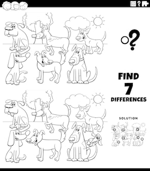 Finding differences educational game with dogs coloring book page