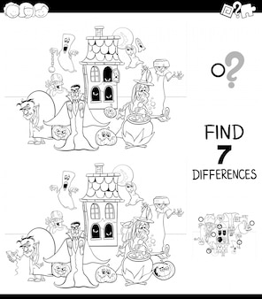 Finding differences educational game with halloween characters