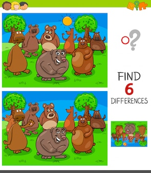 Finding differences game with bears characters