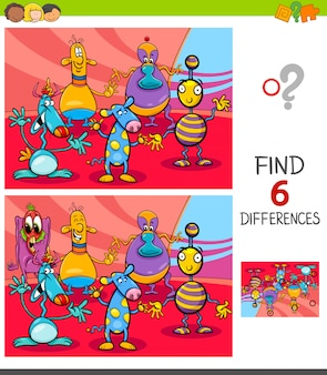 Finding differences game with fantasy creatures