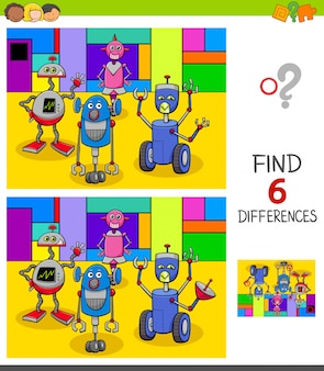 Finding differences game with fantasy robots