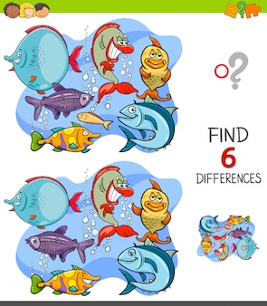 Finding differences game with funny fish characters