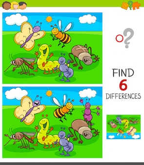 Finding differences game with insects animals