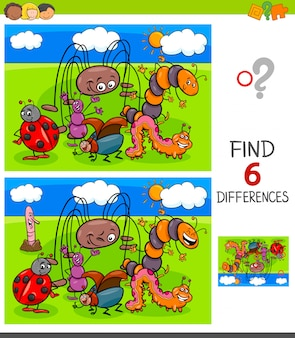 Finding differences game with insects