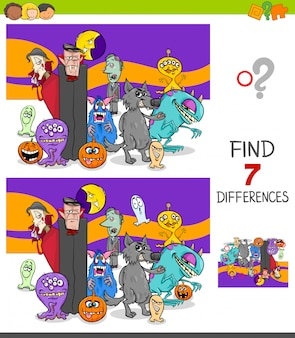 Finding differences between pictures educational game with halloween characters