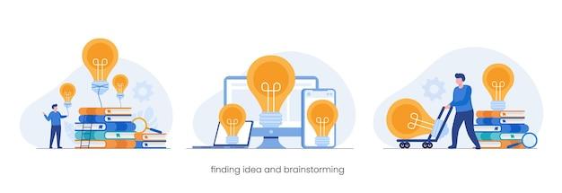 Поиск идеи и концепции мозгового штурма, идея лампы накаливания, плоская векторная иллюстрация для баннера