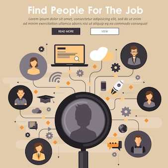 Finding professional staff concept. hiring people