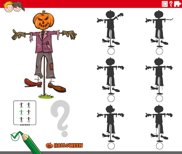 Finding the shadow without differences with cartoon halloween scarecrow