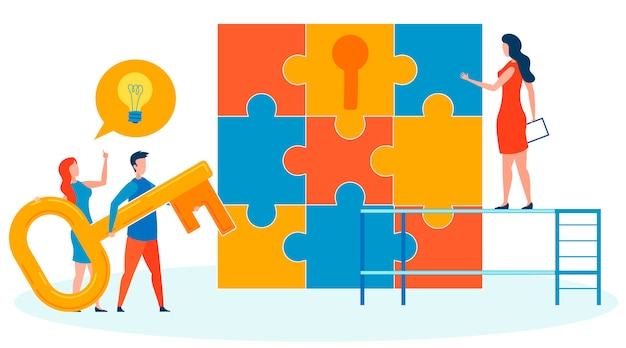 Finding suitable key flat vector illustration