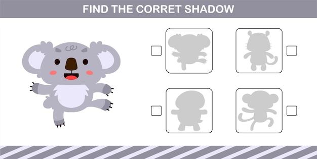 귀여운 코알라의 정확한 그림자 찾기, 5세와 10세 어린이를 위한 교육 게임