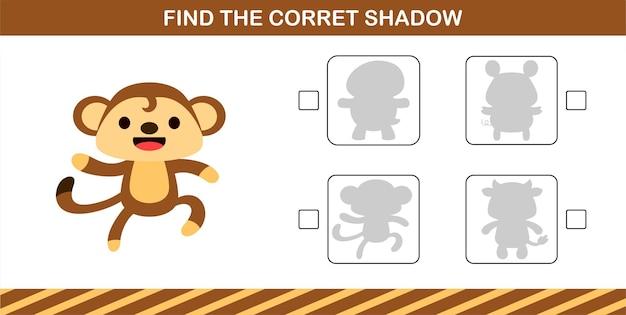 귀여운 원숭이의 정확한 그림자 찾기, 5세 및 10세 어린이를 위한 교육 게임