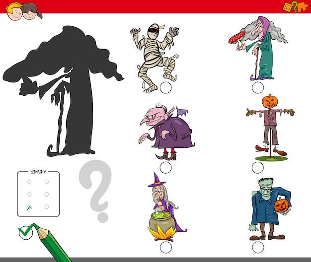 Поиск правильной образовательной деятельности в тени с символами хэллоуина