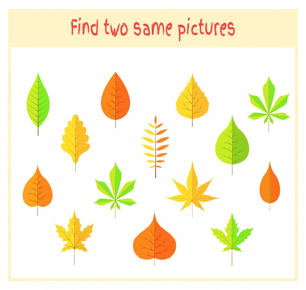 Finding two exactly the same pictures educational activity for preschool children