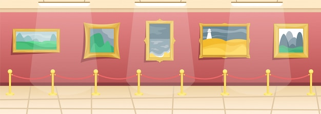 Fine arts museum. hall with paintings in gilded baguettes, fenced from visitors. classical art.
