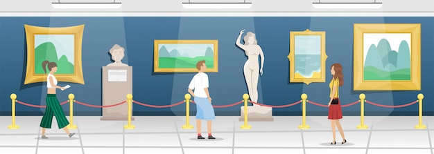 Fine arts museum with visitors. hall with paintings in gilded baguettes and sculptures. classical art