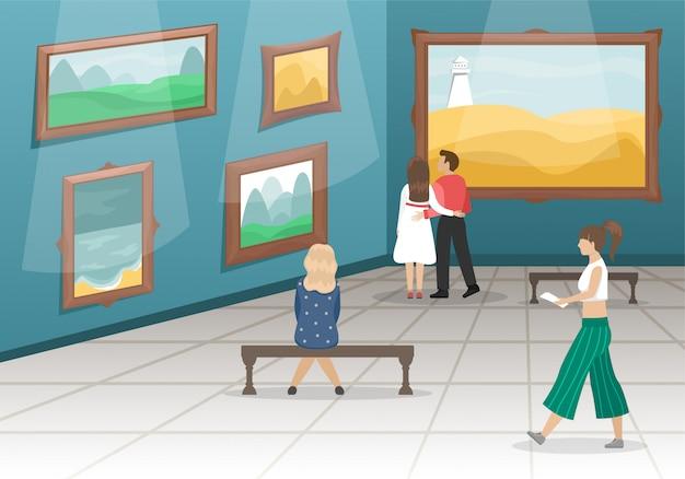 訪問者のいる美術館。金色のバゲットに入った絵画が飾られたホール。クラシックアート。