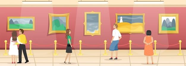 방문자가있는 미술 박물관. 화려한 바게트에 그림이있는 홀. 고전 예술.