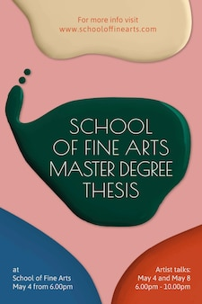 Fine arts school template vector color paint abstract ad poster