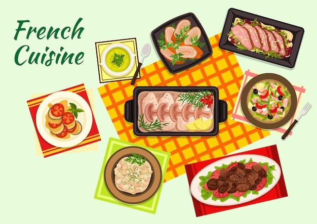 Изысканная кухня франции с рагу из рататуя, салатом из утки, гороховым крем-супом, салатом из тунца нисуаз, жареной куриной печенью, запеченной треской в соусе бешамель, куриным супрем и фрикасе из телячьих почек.