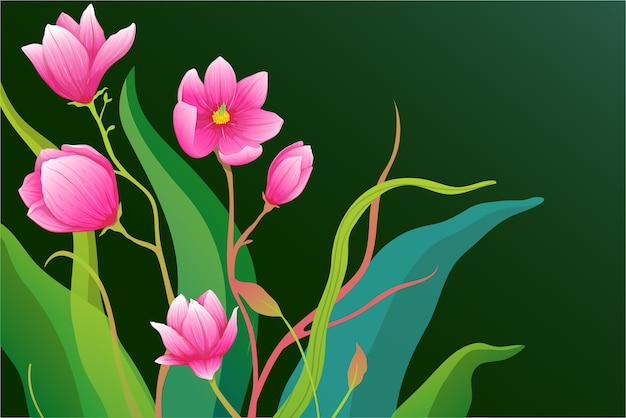 Прекрасная замысловатая композиция из роз или цветов магнолии