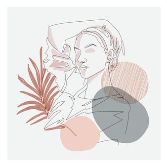 아름다운 여자 그림의 미세 라인 아트 드로잉