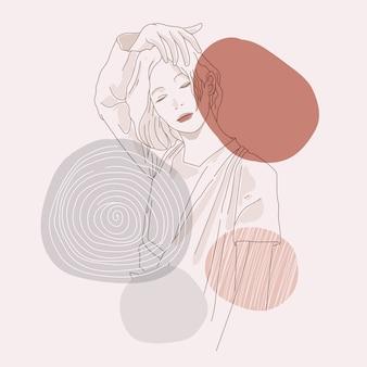 여자 그림의 미세 라인 아트 드로잉