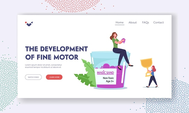 Fine motor skills development landing page template. family character mother and daughter playing with kinetic sand, amusement recreation, girl with gold winner cup. cartoon people vector illustration