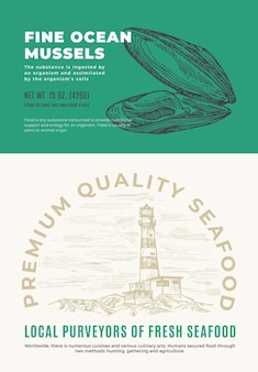 Fine ocean seafood. abstract vector packaging design or label. modern typography and hand drawn mussel shell sketch silhouette with sea lighthouse background layout.