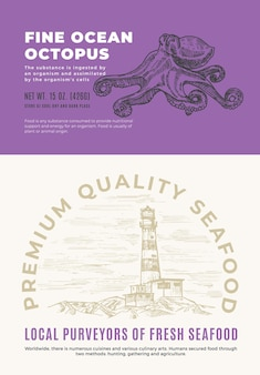 Fine ocean seafood. abstract vector packaging design or label. modern typography and hand drawn octopus sketch silhouette with sea lighthouse background layout.