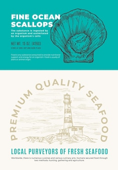 Fine ocean seafood. abstract vector packaging design or label. modern typography and hand drawn scallop shell sketch silhouette with sea lighthouse background layout.