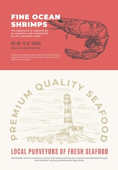 Fine ocean seafood. abstract vector packaging design or label. modern typography and hand drawn shrimp sketch silhouette with sea lighthouse background layout.