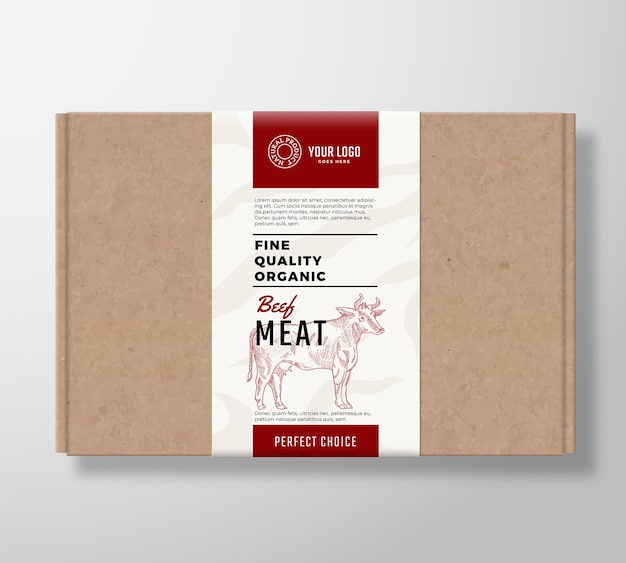 Fine quality organic beef craft cardboard box.