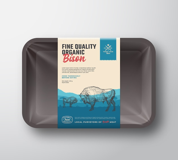 Fine quality organic bison. meat plastic tray container mockup