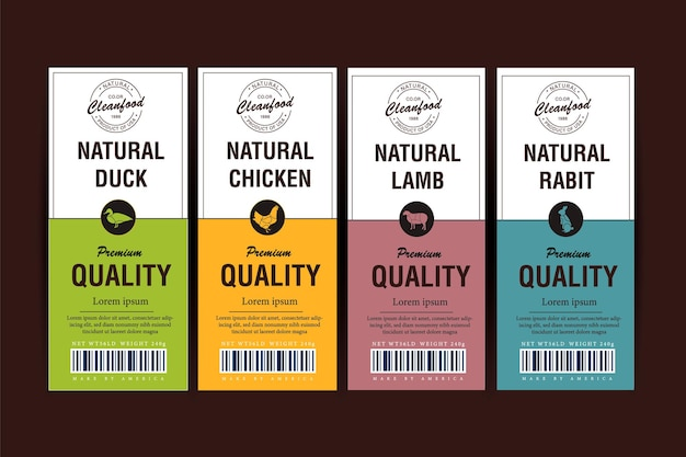 Fine quality organic meat and poultry vertical labels set abstract packaging design modern typography and hand drawn pig cow and other farm animals silhouette background layouts isolated