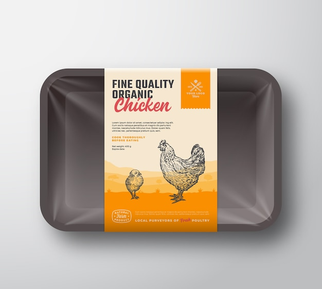 양질의 유기농 가금류. 고기 플라스틱 트레이 용기 모형
