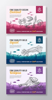 Fine quality organic seafood abstract vector food packaging labels set modern typography and hand dr...