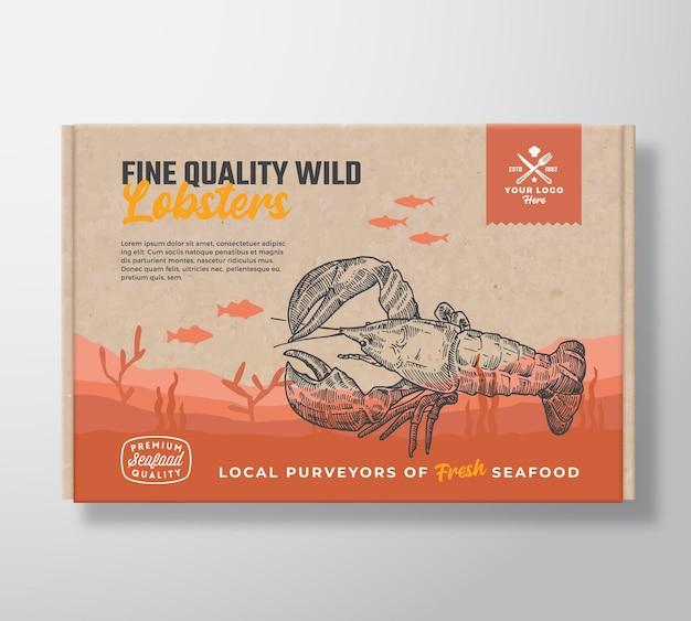上質なシーフード段ボール箱抽象的なベクトル食品包装ラベルデザイン現代のタイポグラフィと...