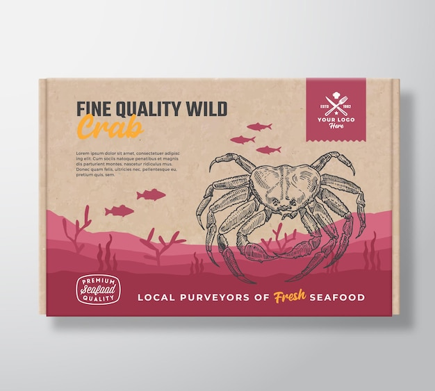 Fine quality seafood cardboard box. abstract vector food packaging label design. modern typography and hand drawn crab and fishes silhouettes. sea bottom landscape background layout with banner