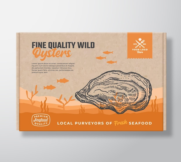Fine quality seafood cardboard box. abstract vector food packaging label design. modern typography and hand drawn oyster and fishes silhouettes. sea bottom landscape background layout with banner.