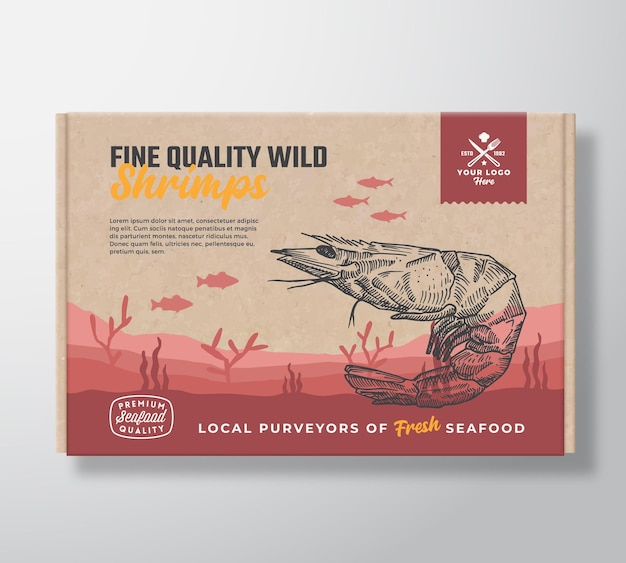 Fine quality seafood cardboard box. abstract vector food packaging label design. modern typography and hand drawn shrimp and fishes silhouettes. sea bottom landscape background layout with banner.
